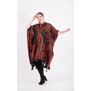 Mexican Our Lady of Guadalupe Poncho Orange Black